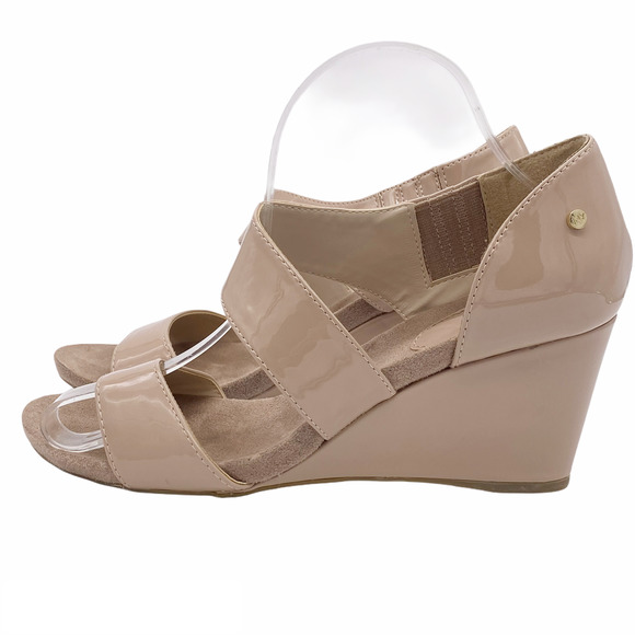 Jones New York Patent Strappy Wedge Sandals 9